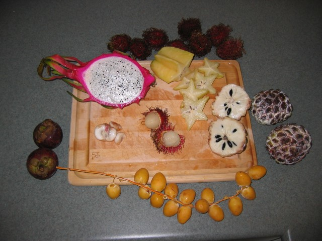 Dragonfruit, starfruit, longan, and some other Chinese fruits.